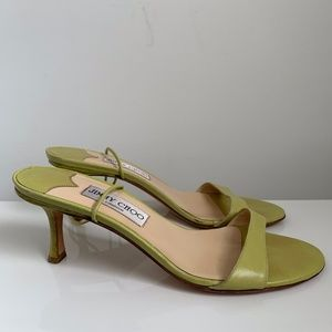 Jimmy Choo Lime Green Leather Tie up midi Heel